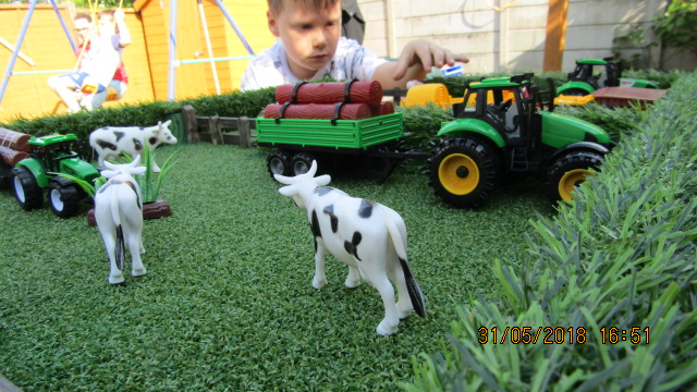 the farm, little boy playing with farm, animals, cows, farm, playset